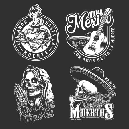 Dia De Los Muertos vintage labels with guitar trumpet dead woman head skull in sombrero skeleton hands holding rosary fiery heart in barbed wire isolated vector illustration 일러스트