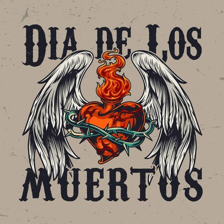 Mexican Day of Dead colorful concept with heart shaped bottle in wire with fire and angel wings isolated vector illustration