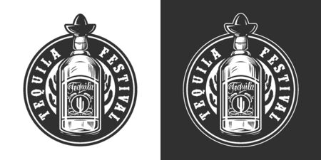 Mexican festival vintage round label with tequila bottle in monochrome style isolated vector illustration