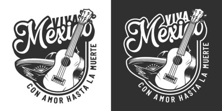 Vintage mexican Day of Dead label with acoustic guitar and sombrero hat in monochrome style isolated vector illustration