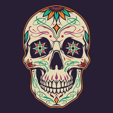 Day of the Dead concept with colorful sugar skull in vintage style isolated vector illustration Vettoriali