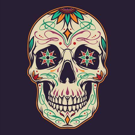 Koncepcja Dzień Zmarłych z kolorową cukrową czaszką w stylu vintage na białym tle ilustracji wektorowych Ilustracje wektorowe