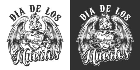 Dia De Los Muertos monochrome label with fiery heart in barbed wire with angel wings in vintage style isolated vector illustration