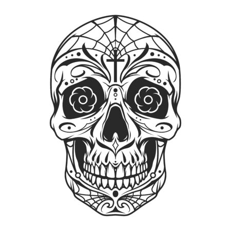 Vintage mexican sugar skull monochrome template with floral and spiderweb pattern isolated vector illustration