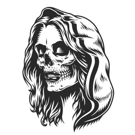 Il concetto messicano di Dia De Los Muertos con la ragazza morta nel cappuccio in stile vintage ha isolato l'illustrazione vettoriale Vettoriali