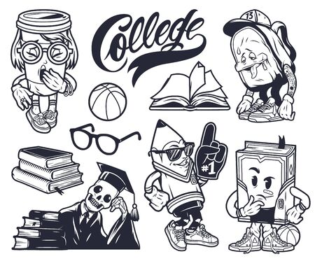 Vintage college elements funny monochrome set with cute characters of schoolbag pencil book paper cup skeleton in mantle and graduation cap isolated vector illustration Ilustração
