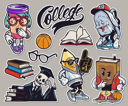 Vintage colorful college funny characters set with yawning paper cup tired schoolbag meditative book stylish pencil skeleton in mantle and graduation cap isolated vector illustration