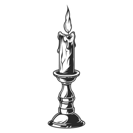 Burning candle in bronze candlestick in vintage monochrome style isolated vector illustration