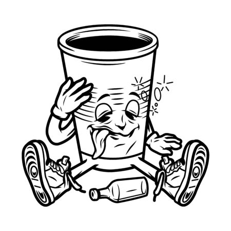 Vintage drunk paper cup in sneakers sitting on floor near empty bottle in monochrome style isolated vector illustration