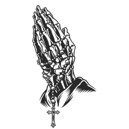 Concept de mains de prière squelette vintage avec chapelet en illustration vectorielle isolée de style monochrome Vecteurs