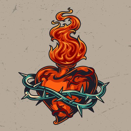 Red heart shaped bottle in wire with fire in vintage style isolated vector illustration