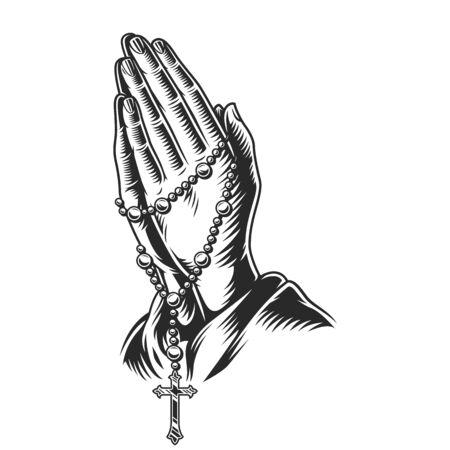 Mains en prière tenant des perles de chapelet dans une illustration vectorielle isolée de style monochrome vintage Vecteurs
