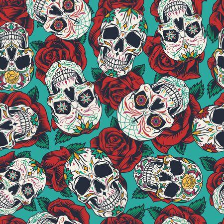 Modello senza cuciture messicano del giorno dei morti con calaveras colorati su sfondo di fiori di rosa in illustrazione vettoriale stile vintage