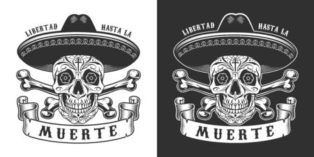 Dia De Los Muertos print with sugar skull in sombrero hat and crossbones in vintage monochrome style isolated vector illustration