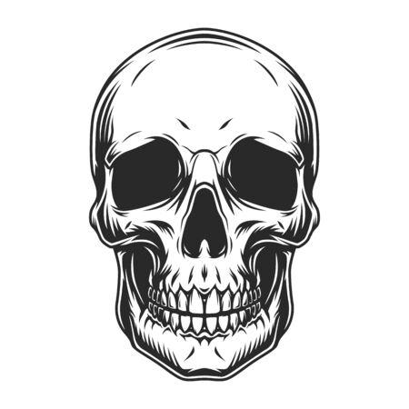 Concepto de cráneo humano vintage en estilo monocromo aislado ilustración vectorial
