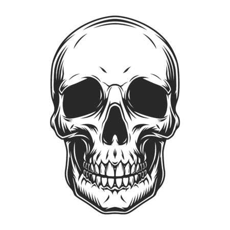 Vintage human skull concept in monochrome style isolated vector illustration