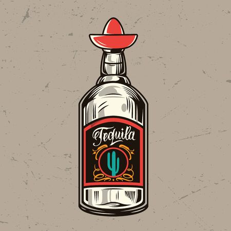 Vintage tequila bottle concept with bung in shape of sombrero isolated vector illustration