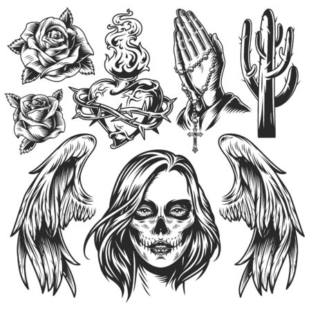 Vintage Day of Dead monochrome composition with roses heart shaped fiery bottle in barbed wire cactus angel wings praying hands with rosary dead woman head isolated vector illustration Иллюстрация