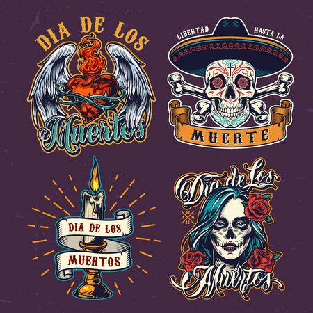 Dia De Los Muertos colorful labels with sugar skull in sombrero hat burning candle fiery heart in wire with angel wings and woman face with spooky makeup isolated vector illustration Archivio Fotografico - 128070265