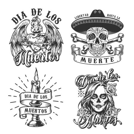 Day of Dead vintage emblems with sugar skull in sombrero hat crossbones candle woman with scary makeup fiery heart in barbed wire with angel wings isolated vector illustration