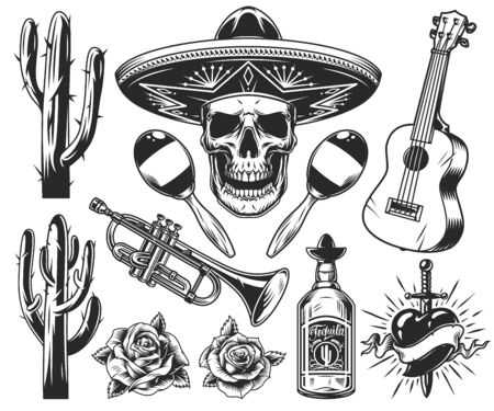 Vintage Day of Dead elements set with skull in sombrero guitar cactuses trumpet roses tequila bottle maracas heart pierced by dagger isolated vector illustration