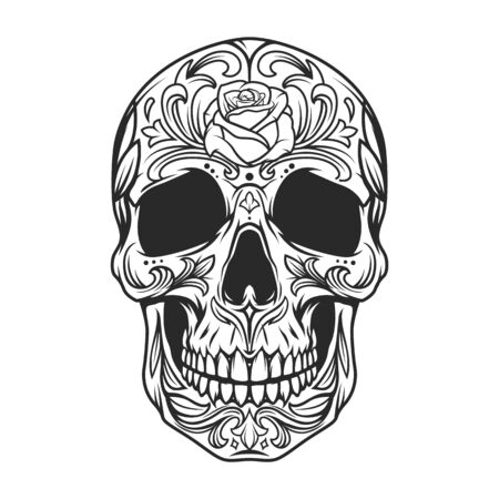 Vintage monochrome sugar skull with rose flower and floral pattern isolated vector illustration