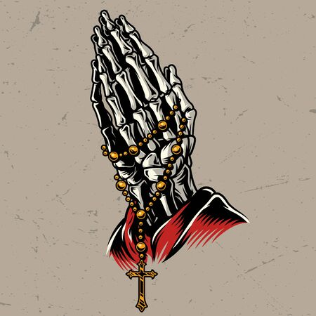 Skeleton praying hands with rosary in vintage style isolated vector illustration