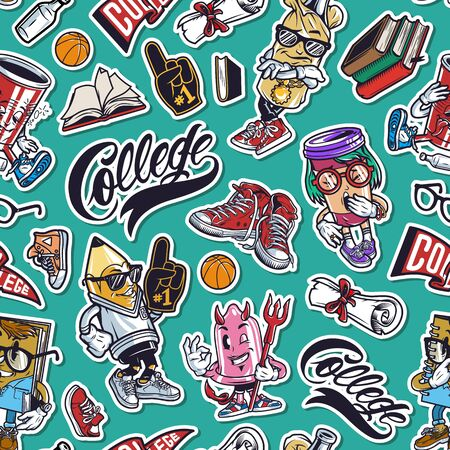 Vintage college funny seamless pattern with books diploma scroll fan glove sneakers cute characters of condom notepad paper cup stylish bottle vector illustration