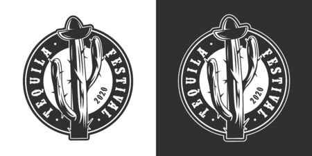 Vintage mexican tequila festival round logo with bung in shape of sombrero hat on cactus in monochrome style isolated vector illustration