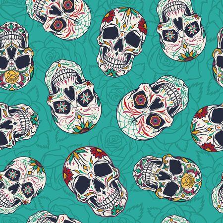 Vintage mexican sugar skulls seamless pattern on turquoise floral background vector illustration 向量圖像