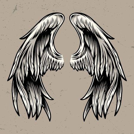 Plantilla de dos alas de ángel en estilo vintage aislado ilustración vectorial Ilustración de vector