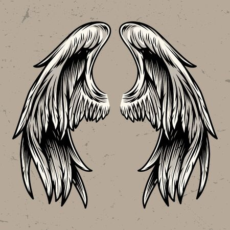 Two angel wings template in vintage style isolated vector illustration