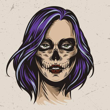 Vintage spooky woman head with Day of the Dead makeup and purple hair isolated vector illustration 向量圖像