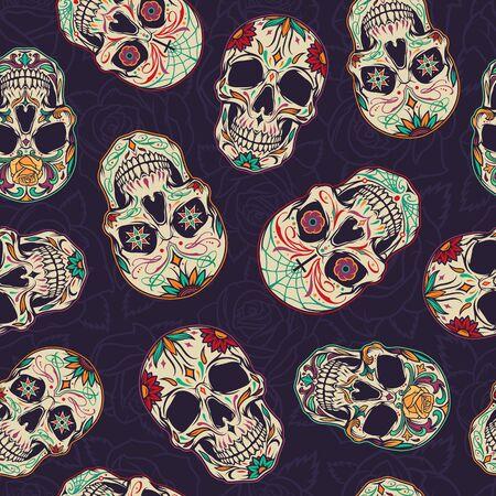 Dia de los muertos seamless pattern with sugar skulls on floral dark background in vintage style vector illustration 向量圖像