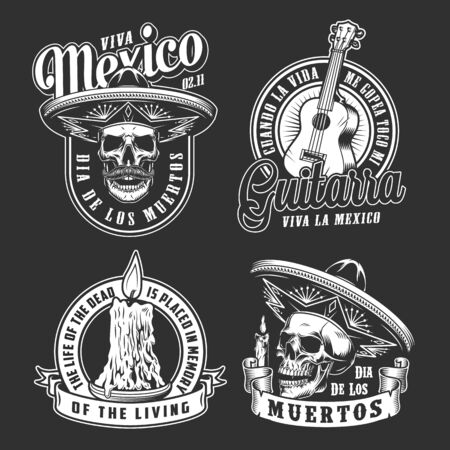 Day of Dead vintage monochrome logos with skulls in sombrero hats burning candle and acoustic guitar isolated vector illustration 向量圖像