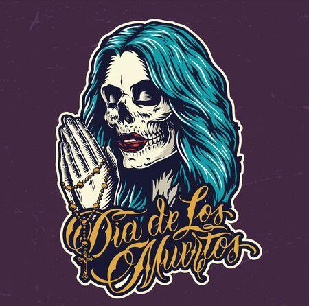 Impresión colorida del Día de Muertos mexicano con cabeza de mujer con maquillaje espeluznante y manos femeninas rezando sosteniendo rosario en estilo vintage aislado ilustración vectorial