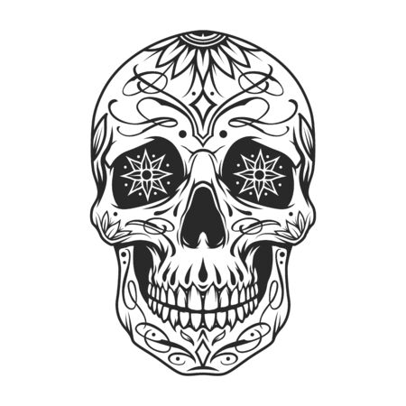 Day of the Dead sugar skull with floral ornament and flowers instead of eyes in vintage monochrome style isolated vector illustration 向量圖像