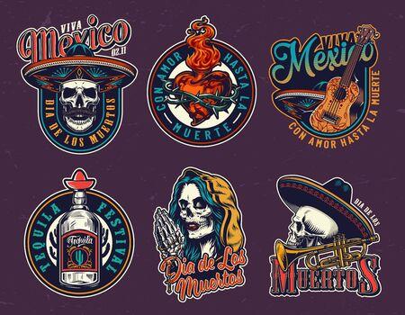 Dia De Los Muertos vintage prints with skulls in sombrero hats fiery heart in wire guitar tequila bottle trumpet dead woman head in hood praying skeleton hands holding rosary vector illustration.