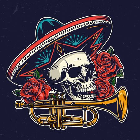 Mexican Day of Dead colorful concept with skull in sombrero hat brass trumpet and rose flowers in vintage style isolated vector illustration