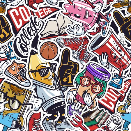 Vintage college colorful seamless pattern with fan glove basketball ball sneakers books diploma scroll funny characters of condom pencil paper cups bottle notepad vector illustration