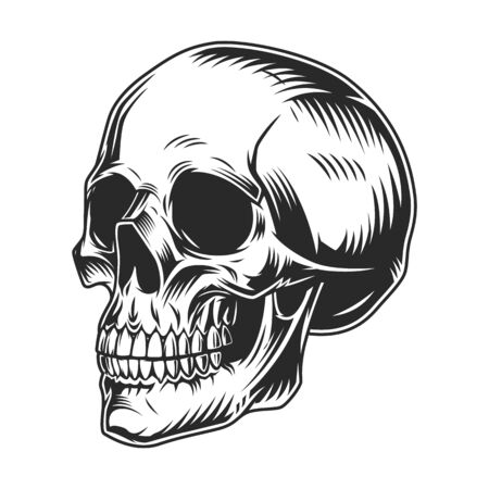 Vintage human skull monochrome concept in half turn position isolated vector illustration