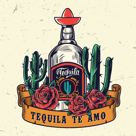 Vintage mexican colorful template with ribbon around tequila bottle cactuses and roses isolated vector illustration Ilustrace