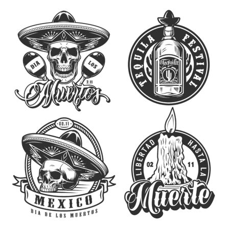 Dia De Los Muertos monochrome emblems with skulls in sombrero hats maracas burning candle and tequila bottle in vintage style isolated vector illustration