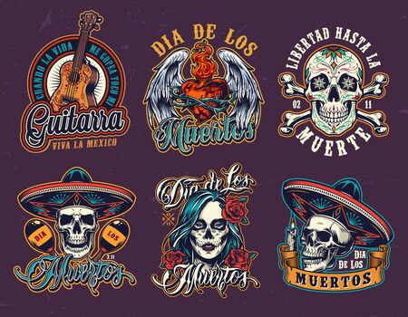 Mexican Day of Dead vintage emblems with guitar winged fiery heart in wire sugar skulls in sombrero hats crossbones maracas woman head with spooky makeup isolated vector illustration Illustration