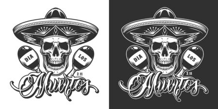 Mexican Day of Dead vintage print with skull in sombrero hat and maracas in monochrome style isolated vector illustration