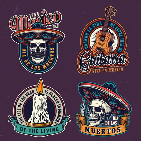 Dia De Los Muertos vintage labels with acoustic guitar skulls in sombrero hats and burning candles isolated vector illustration