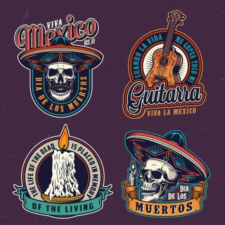Etiquetas vintage de Dia De Los Muertos con calaveras de guitarra acústica en sombreros de sombrero y velas encendidas aisladas ilustración vectorial