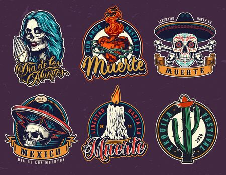 Dia De Los Muertos vintage emblems with different colorful elements of mexican Day of Dead holiday isolated vector illustration