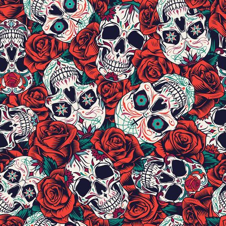 Vintage Day of Dead seamless pattern with sugar skulls and red roses vector illustration Ilustrace