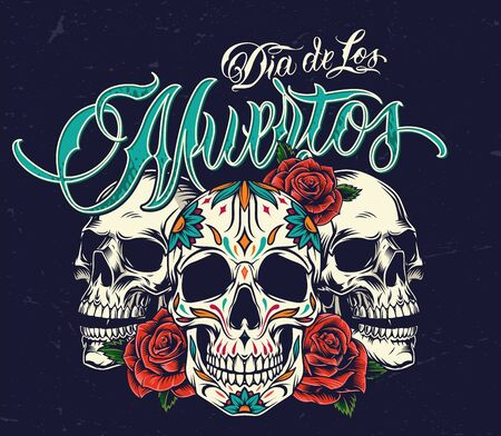 Dia De Los Muertos colorful concept with sugar skulls and rose flowers in vintage style on dark background isolated vector illustration Ilustrace